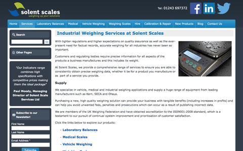 Screenshot of Services Page solentscales.co.uk - Services - Industrial Weighing Scales Supplier | Solent Scales - captured Dec. 1, 2016
