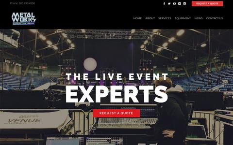 Screenshot of Home Page metalworksproductions.com - Metalworks Production Group | The Live Event Experts - captured Dec. 20, 2018