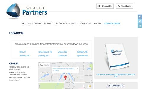 Screenshot of Locations Page truewealthpartners.com - Locations | Wealth Partners - captured Aug. 15, 2016