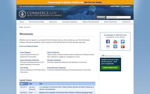 Screenshot of Press Page commerce.gov - Newsroom | Department of Commerce - captured Sept. 18, 2014