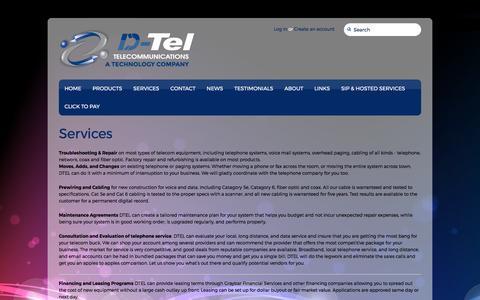 Screenshot of Services Page dteltel.com - Services – DTel Telecommunications - captured July 6, 2017
