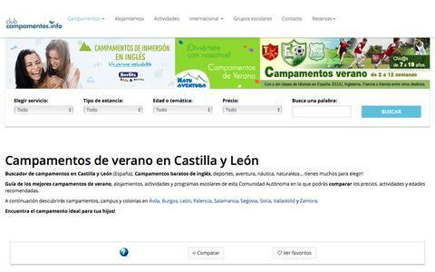 Screenshot of campamentos.info - Castilla y León - captured Aug. 22, 2016