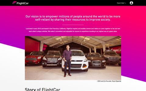 Screenshot of About Page flightcar.com - FlightCar About Us - captured April 26, 2016