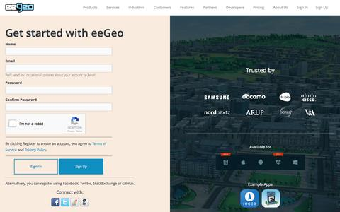 Screenshot of Signup Page eegeo.com - eeGeo | Register | - captured May 9, 2017