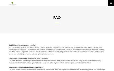 Screenshot of FAQ Page ecolightingsupplies.com.au - FAQ - Eco Lighting Supplies - captured May 14, 2017