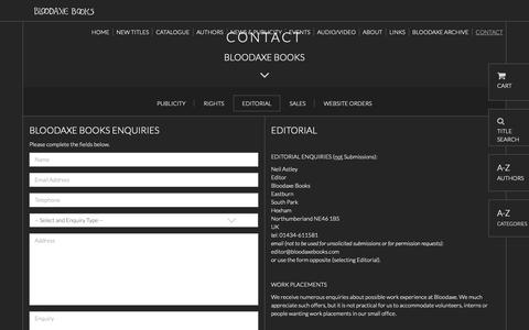 Screenshot of Contact Page bloodaxebooks.com - Editorial | Bloodaxe Books - captured Oct. 25, 2018