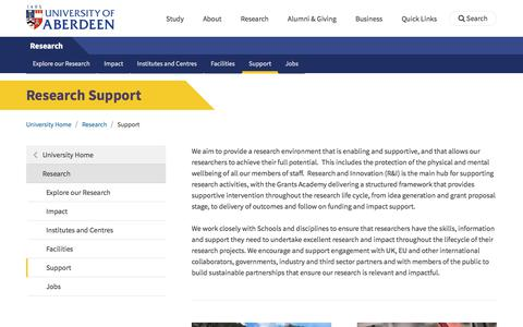 Screenshot of Support Page abdn.ac.uk - Research Support | Research | The University of Aberdeen - captured Feb. 14, 2020