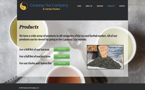 Screenshot of Products Page carawaytea.com - carawaytea   PRODUCTS - captured Oct. 21, 2016