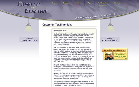 Screenshot of Testimonials Page caselloelectric.com - Testimonials-caselloelectric.com |- Doing It All - captured July 16, 2018