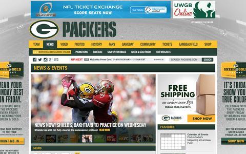 Screenshot of Press Page packers.com - Green Bay Packers News - captured Jan. 14, 2016