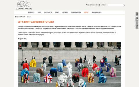 Screenshot of About Page elephantparade.com - Elephant Parade » About - captured Jan. 27, 2016