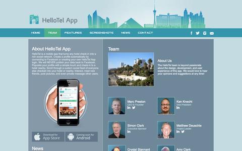 Screenshot of Team Page hellotelapp.com - HelloTel App | Team - captured Oct. 29, 2014