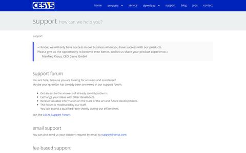Screenshot of Support Page cesys.com - support - captured June 6, 2016
