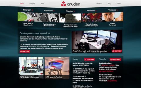 Screenshot of Home Page cruden.com - Professional vehicle development and F1 motorsport simulator engineering by Cruden BV - Cruden - captured Oct. 3, 2014