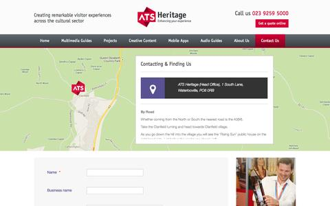 Screenshot of Contact Page ats-heritage.co.uk captured Sept. 30, 2014