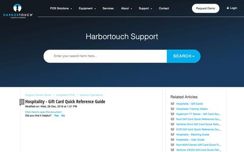 Screenshot of Support Page harbortouch.com - Hospitality - Gift Card Quick Reference Guide : Harbortouch Support Center - captured Oct. 9, 2018