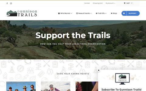 Screenshot of Support Page gunnisontrails.org - Support Gunnison Trails – Gunnison Trails - captured Feb. 25, 2018