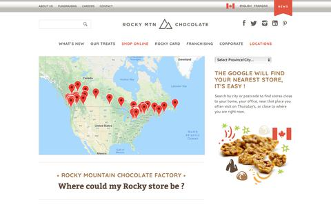 Screenshot of Locations Page rockychoc.com - Locations | Rocky Mountain Chocolate Factory - captured Oct. 18, 2018