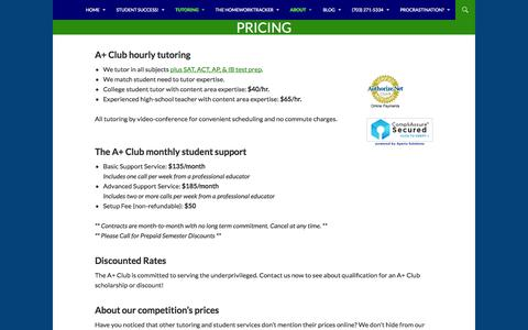 Screenshot of Pricing Page school4schools.com - Pricing: Tutoring & Monthly Support from the A+ Club - captured Oct. 4, 2014