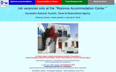 Screenshot of Jobs Page mykonos-accommodation.com - Jobs at Mykonos Accommodation Center, agency on Mykonos - captured Sept. 22, 2018