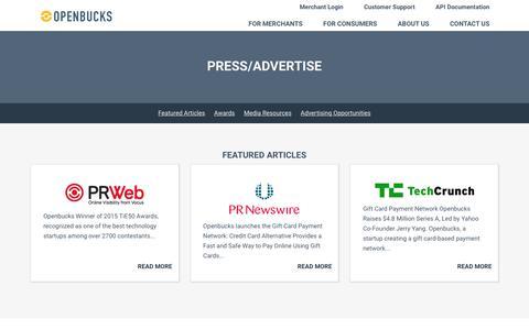 Screenshot of Press Page openbucks.com - Openbucks® - Press/Advertise - captured Nov. 3, 2018