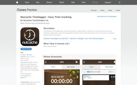 Screenshot of iOS App Page apple.com - Nutcache Timelogger : Easy Time tracking on the App Store on iTunes - captured Oct. 26, 2014