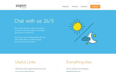 Screenshot of Contact Page zopim.com - Zopim - Contact Us - captured Sept. 30, 2015