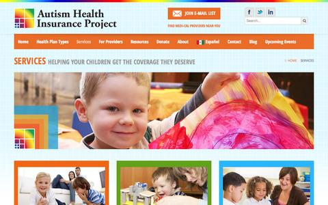 Screenshot of Services Page autismhealthinsurance.org - Services - captured Oct. 4, 2014