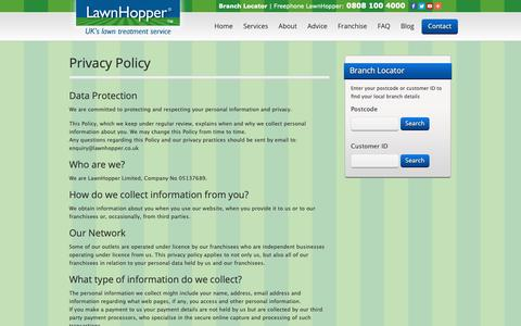 Screenshot of Privacy Page lawnhopper.co.uk - Privacy Policy - UK's Lawn Treatment Service - captured Nov. 4, 2018