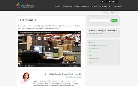 Screenshot of Testimonials Page appterra.com - Testimonials - Appterra Collaborative Commerce - captured Oct. 4, 2014