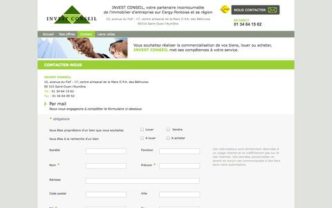 Screenshot of Contact Page invest-conseil-immo.fr - INVEST CONSEIL - captured Oct. 6, 2014