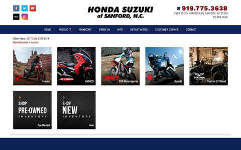 Screenshot of Products Page hondasuzukiofsanford.com - Inventory Showroom | Honda Suzuki Of Sanford North Carolina - captured July 2, 2018