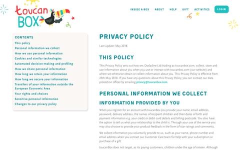 Information about the toucanBox privacy policy