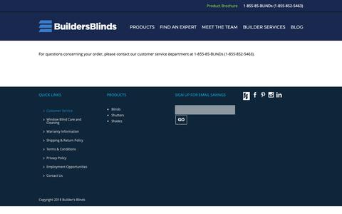 Screenshot of Support Page buildersblinds.com - Customer Service - Builders Blinds - captured Nov. 6, 2018