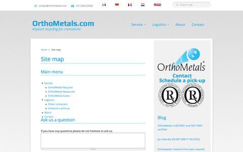 Screenshot of Site Map Page orthometals.com - Site map   OrthoMetals.com - captured Oct. 26, 2014
