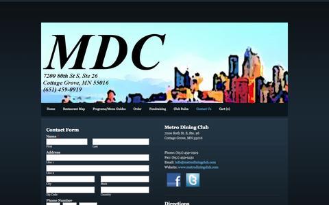 Screenshot of Contact Page metrodiningclub.com - Contact Us - Metro Dining Club - captured Oct. 27, 2014