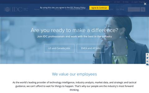 Screenshot of Jobs Page idc.com - IDC - About - Careers - captured July 12, 2019