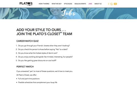 Screenshot of Jobs Page platosclosetrochestermn.com - Platos's Closet Rochester, MN | Hiring | Join the Plato's Closet Team | Jobs - captured July 19, 2018