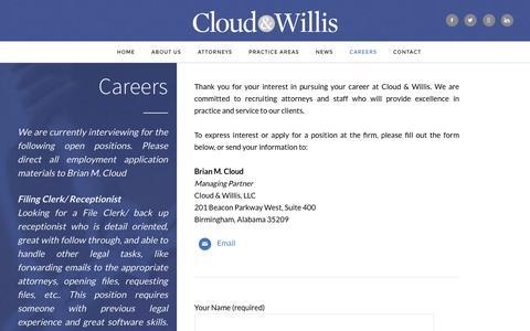 Screenshot of Jobs Page cloudwillis.com - Careers « Cloud & Willis LLC - captured Jan. 29, 2016