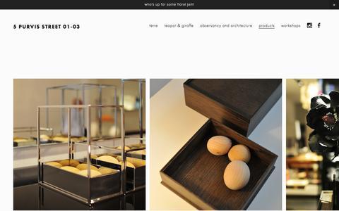 Screenshot of Products Page teapotandgiraffe.com - Products — 5 Purvis Street 01-03 - captured Feb. 14, 2016