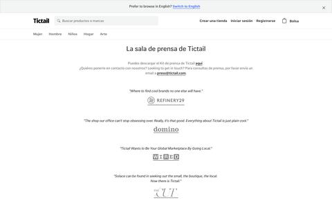 Screenshot of Press Page tictail.com - La sala de prensa de Tictail • Tictail - captured Sept. 11, 2017