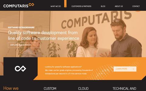 Screenshot of Home Page computaris.com - Software development services | Computaris - captured Nov. 5, 2018