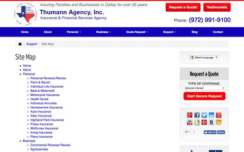 Screenshot of Site Map Page thumannagency.com - Insurance Site Map | Thumann Agency. Dallas, Texas - captured March 13, 2017