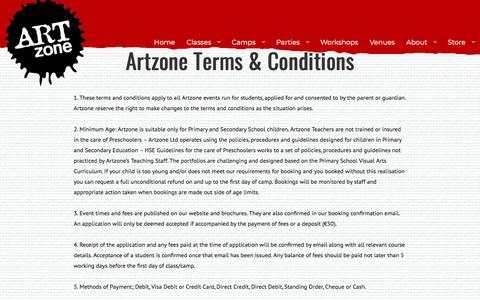 Screenshot of Terms Page artzone.ie - Terms & Conditions – Artzone - captured Sept. 24, 2018