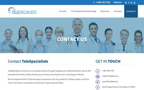 Screenshot of Contact Page tstelemed.com - Contact Us | TeleSpecialists - Get in touch! Get Social!TeleSpecialists - captured Oct. 9, 2019