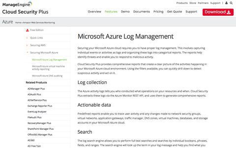 Microsoft Azure Log Management - Cloud Security Plus