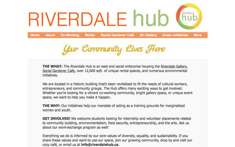 Screenshot of About Page wixsite.com - The Riverdale Hub | East End Social Enterprise | About - captured June 19, 2017
