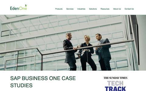 Screenshot of Case Studies Page edenonesolutions.co.uk - SAP Business One Case Studies - captured Oct. 1, 2014