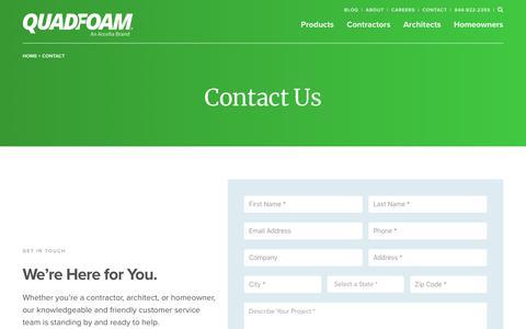 Screenshot of Contact Page quadfoam.com - Contact - QuadFoam - captured Sept. 28, 2018