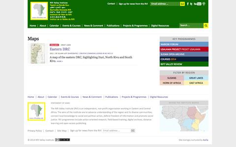 Screenshot of Maps & Directions Page riftvalley.net - Maps | Rift Valley Institute - captured Oct. 7, 2014